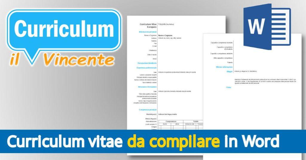 Il Curriculum Vitae da compilare in Word
